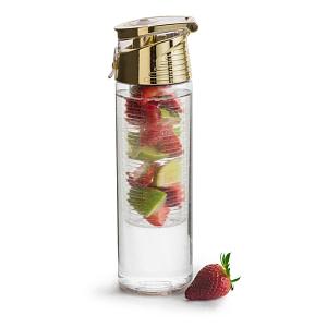 Fresh Bottle mit Einsatz für Früchte gold