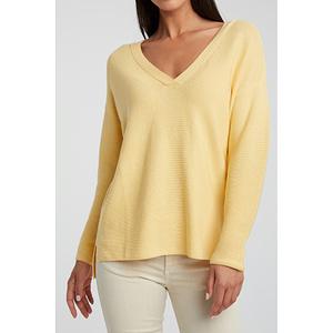 Gerippter Pullover aus Baumwollmischung mit Seitenschlitzen
