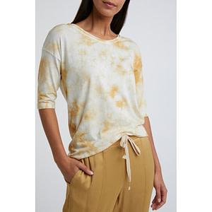 T-Shirt aus Baumwollmischung in Schnurbatik-Optik