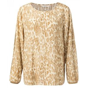 Bluse mit plissierten Ärmeln und Leopardenmuster