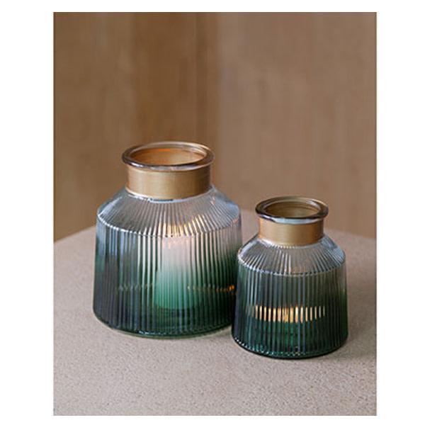 Vase/Windlicht dunkelgrün Dekoration Cosy & Trendy