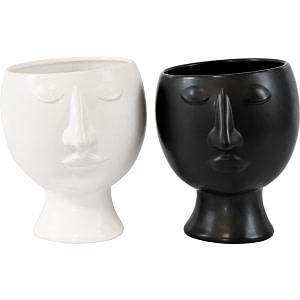 ÜBERTOPF Gesicht Black & White weiss