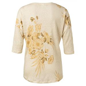 Leinen-Shirt mit V-Ausschnitt und überschnittener Schulter